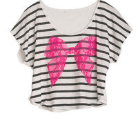 Stripe Lace Bow Tee