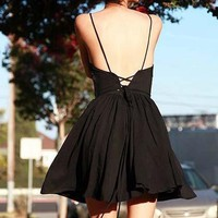 Holiday Cute Lace Up Halter Dress