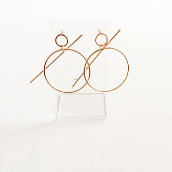 Big bar hoop earrings, minimal jewelr, dangle earrings