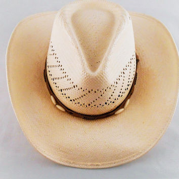 Off White Ivory Cowboy Hat Pinched Crown Suede Band Plastic Unisex Size 7