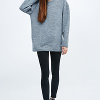Light Before Dark Ottoman Ribbed Sweatshirt in Grey - Urban Outfitters