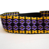 Floral Headband Handmade Headband Purple and Yellow Flowers Vintage Trim Headband Elastic Back Hippie Gypsy Festival EDC FREE SHIPPING