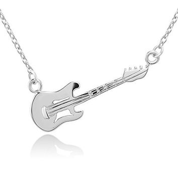 925 Sterling Silver Electric Guitar Music Player Lover Pendant Necklace 17.5 inches Women Jewelry