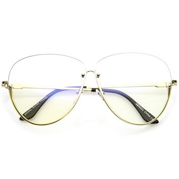 Women's Oversize Rimless Clear Lens Glasses C294