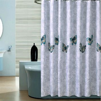 [200cm ] High quality finished modern elegant cutrain waterproof bath curtain for bathroom products butterfly shower curtain