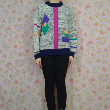 90s Geometric Sweater Preppy Hipster Sweater Soft Grunge Jumper Vintage Womens Size Small - Medium