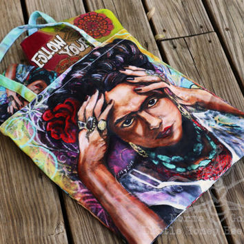 Frida Kahlo Bag - Large Frida Tote Bag - Frida Kahlo Wearable Art - Frida Purse - Book Bag - Shopping Bag - Gifts for Her - Chicana Art