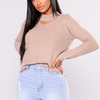 Good Gossip Long Sleeve Sweater - Taupe