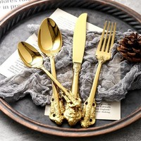 Retro Vintage Western Gold Plated Relief Cutlery Set