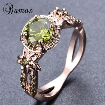 Bamos Vintage Rose Gold Filled August Birthstone Rings For Women Men Birthday Gift Fashion Wedding Engagement Jewelry RY0355