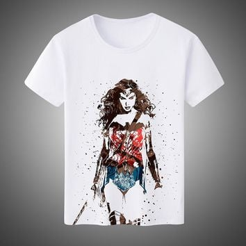 New 2017 Summer Fashion Men's/Women's T-shirts Super Hero Wonder Woman Cosplay Costumes Unisex Short-Sleeved Tees Plus Size