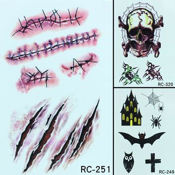1pc 3D Waterproof Temporary Tattoo Sticker Halloween Funny Creative Horror Wound Blood Injury Scar Fake Tattoo Sticker For Party