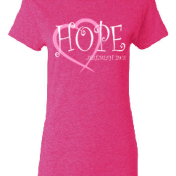HOPE Jeremiah 29:11, screen printed custom t shirt.  White printed design with fade.  100% pre shrunk cotton.