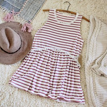 Sweet Stripe Layering Tank in Rose