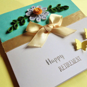 Retirement card, quilled card, congratulations card, happy retirement, handmade card, greetings card, leaving card, goodbye card,