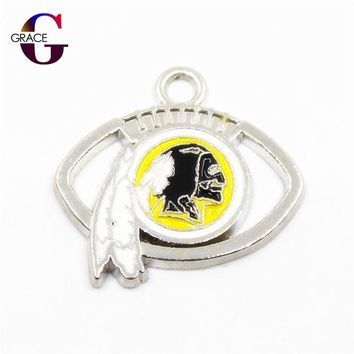 Washington Redskins Charms Football Sport Team Floating Charms Hanging Dangle Charms For Women Necklace Bracelet DIY Jewelry