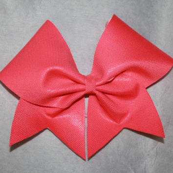 Coral cheer bow