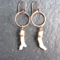 White Japanese Coral and Hoop Earrings in Bronze - Hammered Organic Hoops - White and Gold - Modern Romance Collection