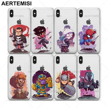 Aertemisi IronFist Ironman Modok Nightcrawler Punisher Silk Spider-Gwen Clear TPU Case Cover for iPhone 5 5s SE 6 6s 7 8 Plus X