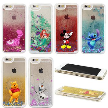 2017 NEW 3D Liquid Sparkle Cartoon The Little Mermaid Winnie Pooh Transparent Case Cover For iPhone 6 6S 6 PLUS 6S PLUS 7 7 PLUS