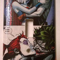 Comic Book Harley Quinn The Joker comic light switch cover