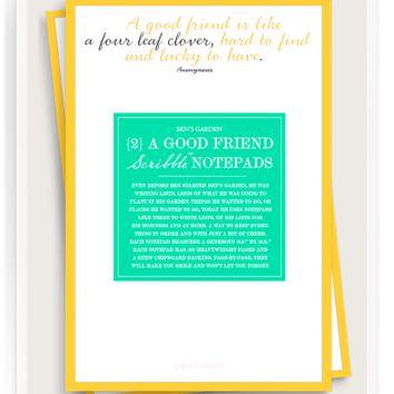 A Good Friend Is Like A Four Leaf Clover Scribble Notepad Set Of 2