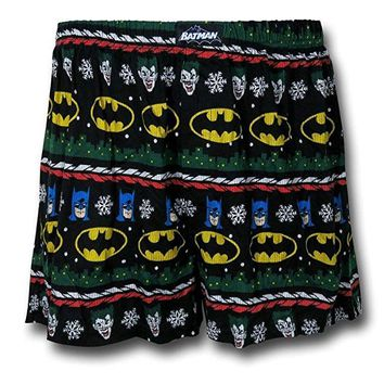 Briefly Stated Men's Batman Ugly Sweater Knit Boxer Black