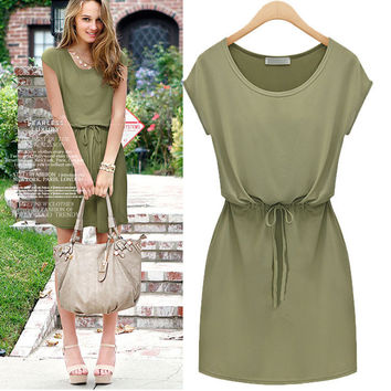 Cap Sleeve Tie Waisted Dress