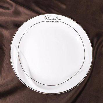 DCCKJG2 8/10/12Inch Flat Plate  Bone ChinaDish Gold Inlay Ceramic Western Dinner Plate  Quality Steak  Sandwiches Cold Dish Cake  Pasta
