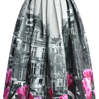 Tulip Town Contrast Print Pleated Midi Skirt Multi