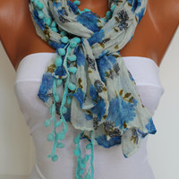 Blue Floral Pompom Crinckle Shawl Scarf Headband Necklace Cowl