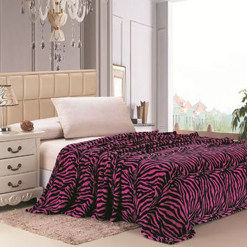 Safari Animal Print Ultra Soft Pink Zebra Twin Size Microplush Blanket