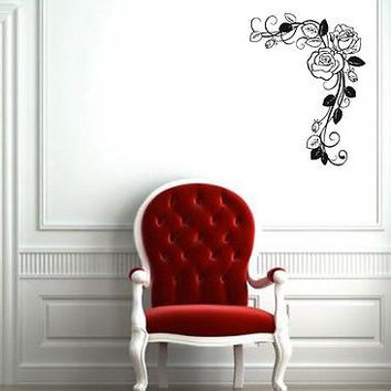 Wall Mural Vinyl Sticker Decal abstraction flowers pattern of rose leaves DA1718