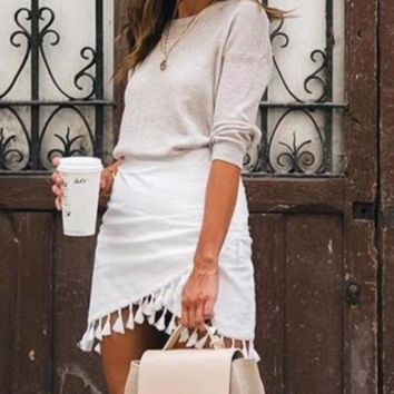 Georgia Tassel Fringe Mini Skirt