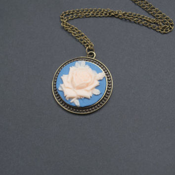 Cameo Necklace. Cameo Flower Pendant. Round Pendant. Jean Blue and Peach.  Long Necklace. Vintage Inspired, Antique Brass