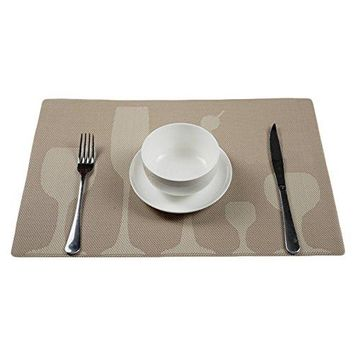 Sealike Elegant Wine Glass Print Table Placemat Table Mat Dinner Mat Desk Mat Set of 4 with Stylus Red