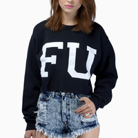 Petals & Peacocks FU Crop Sweatshirt $50
