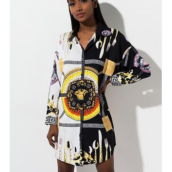 Versace New fashion people head pattern print long sleeve dress women