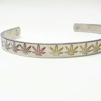 Rasa colored pot leaf hand stamped aluminum cuff bracelet, Bob Marley inspired, jewelry for stoner by the toke shop