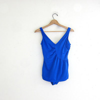 20% OFF SALE vintage blue one piece swimsuit. women's swimwear with front skirt coverup