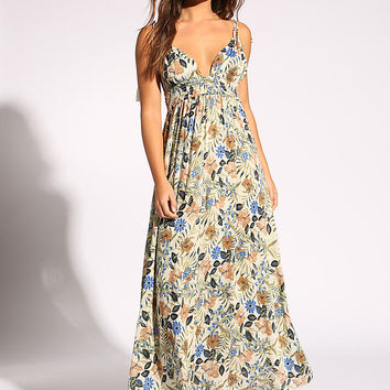 Multi Floral Crepe Plunge Maxi Dress