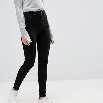 ASOS 'SCULPT ME' High Waisted Premium Jeans in Clean Black at asos.com