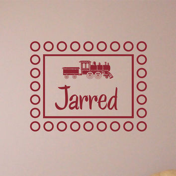 Personalized Monogram Wall Decal Train with Childs Name Nursery Vinyl Wall Art