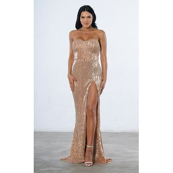 Indie XO Show Me Some Love Champagne Sequin Strapless Sweetheart Neck High Slit Fishtail Maxi Dress - 4 Colors Available