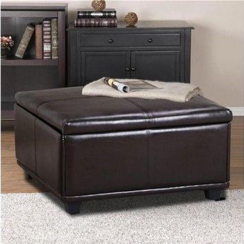 Large Faux Leather Ottoman Storage Coffee Table Lift Up Top Bench