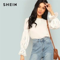 SHEIN Modern Lady Flounce Sleeve Laser Cut Blouse Women Spring Highstreet Casual Tops 100% Cotton Lady Clothing Fashion Tops