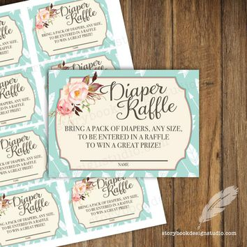 Saddle Up Baby Shower Diaper Raffle Tickets