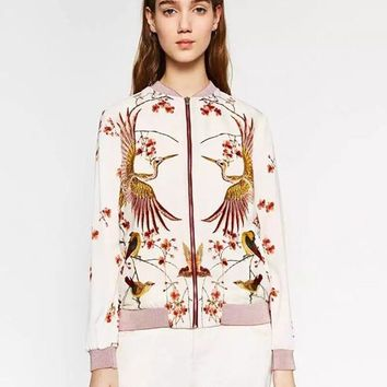 Phoenix Print White Bomber Jacket Exotic Stand Collar Zipper Pink Jacket