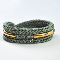 Green knit bracelet and necklace with gold tubes, cotton cord, wrap bracelet