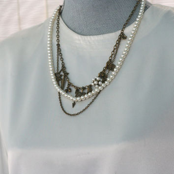 Acorn and Thimble Peter Pan And Wendy and Lost Boys BoHo Necklace II in Brass and Faux Pearls Second Star Right